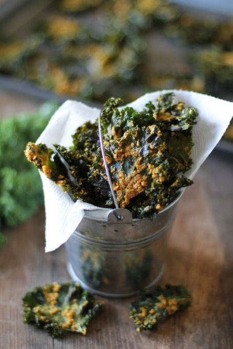 Healthy road trip snacks: nacho cheese kale chips are the perfect snack to munch on in the car.