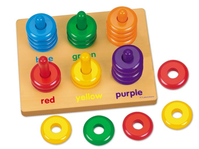 Gifts for kids with autism: Color rings sorting board