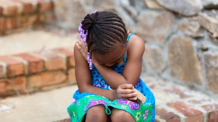 sad or mad little girl. Please