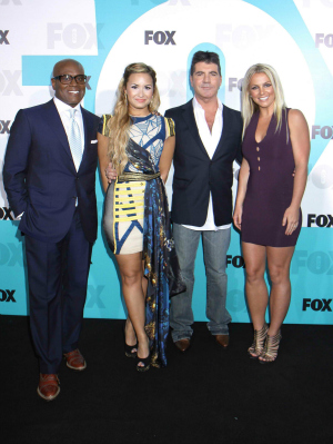 X Factor judges L.A. Reid, Demi Lovato, Simon Cowell, and Britney Spears