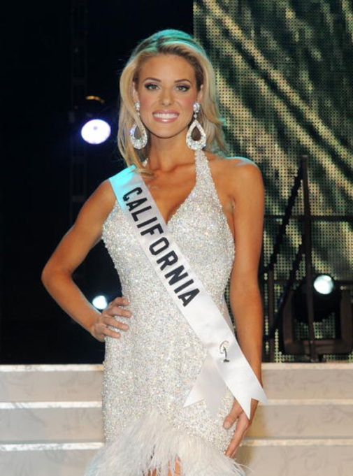 Carrie Prejean on stage as Miss California