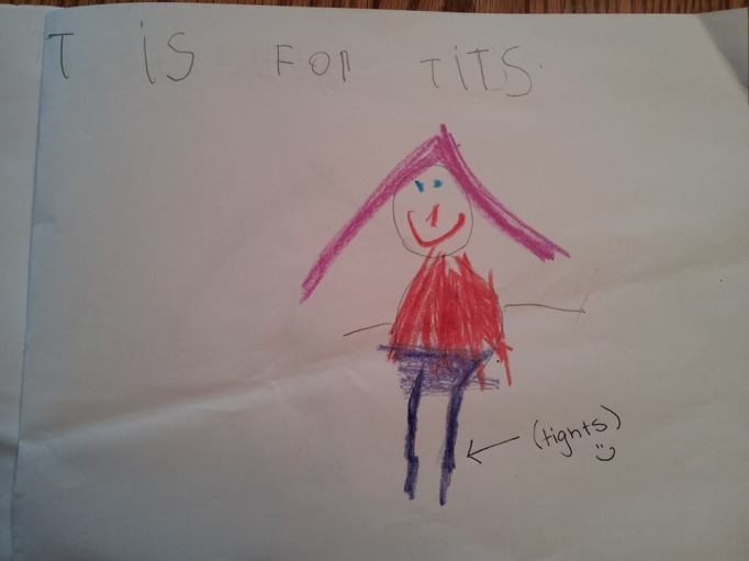 funny kid spelling mistake tits