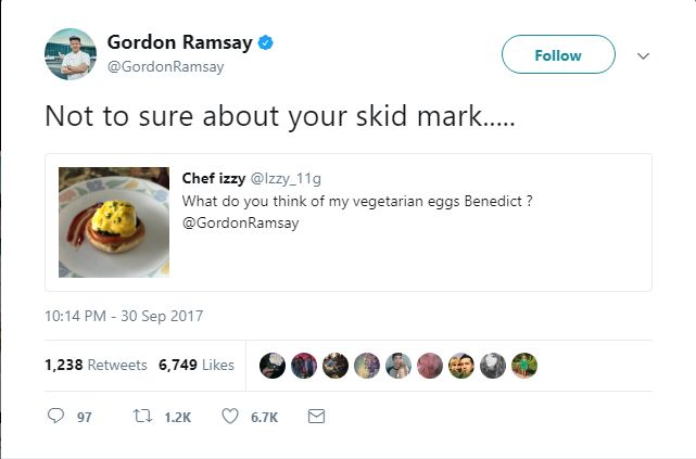 Gordon Ramsay's Meanest Tweets: Sloppy saucing makes this dish look inedible