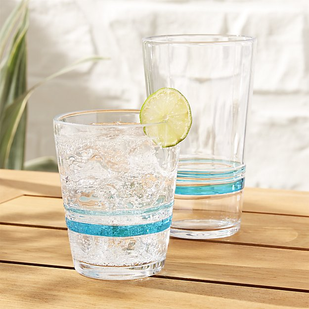 Banded Acrylic Drinking Glasses