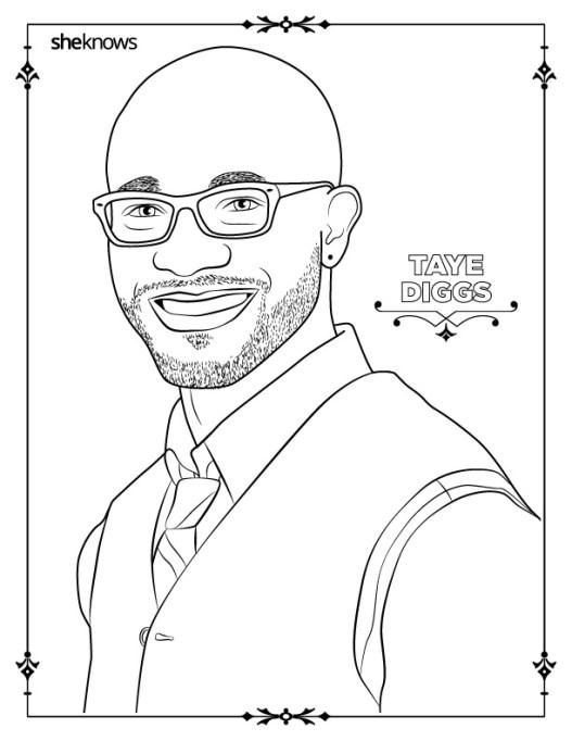 Taye Diggs coloring book page