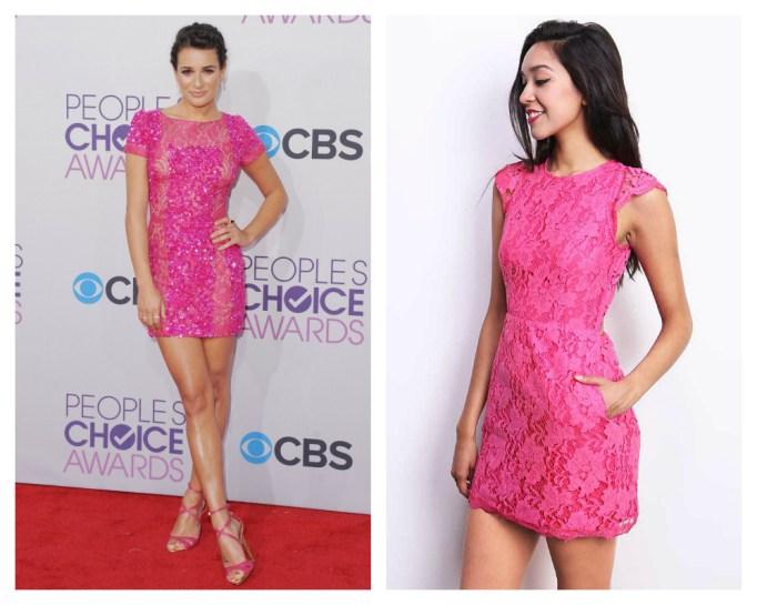 lea michele pink dress