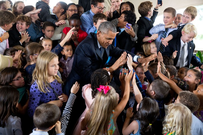 Obama greeting kids in Kenya