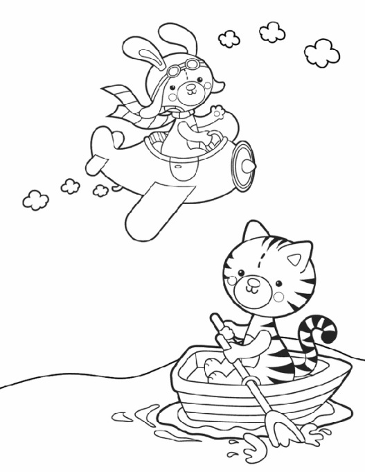 flying bunny and kayaking kitten coloring page