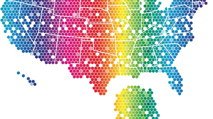 United States Map - rainbow hexagonal