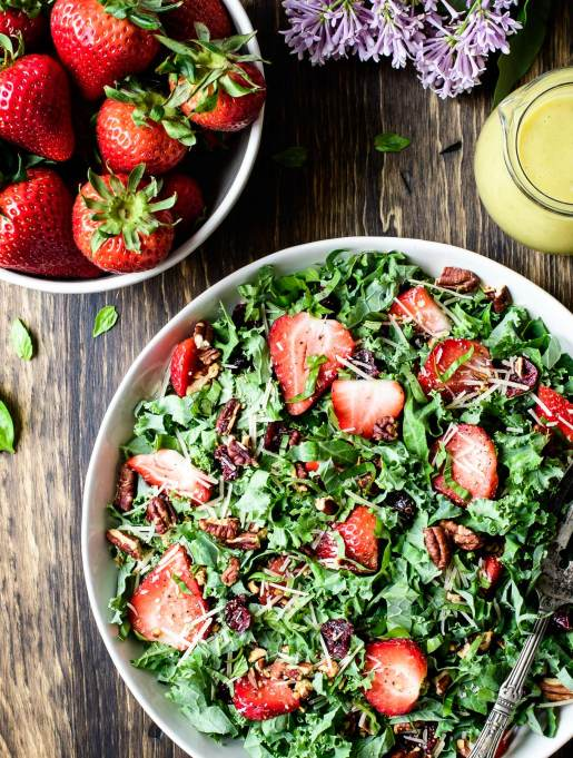 Kale and Strawberry Salad with Lemon Basil Vinaigrette