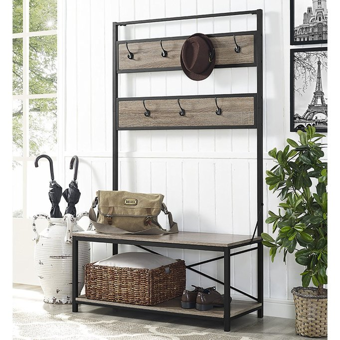 WE Furniture Industrial Metal and Wood Hall Tree in Driftwood
