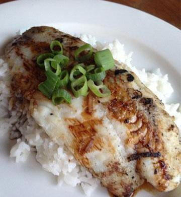 Ginger and coconut BBQ fish for