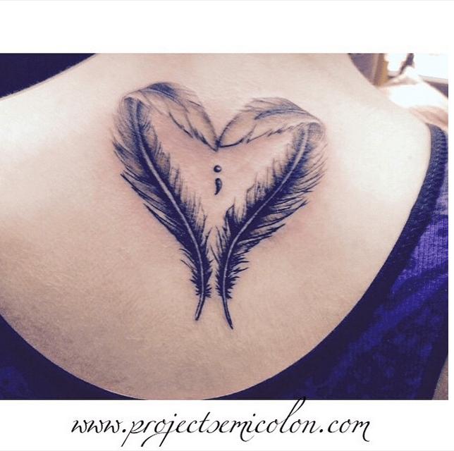 Love feathers semicolon tattoo