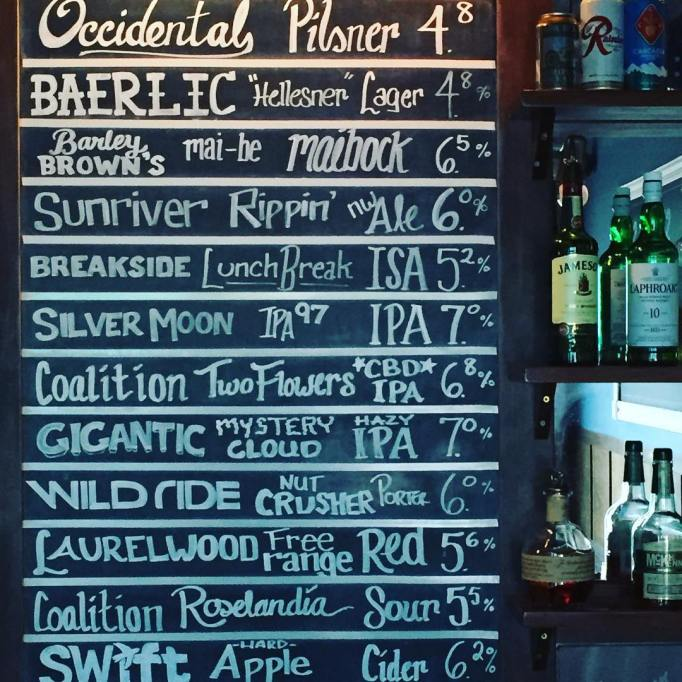 Beer list at Ankeny Tap and Table