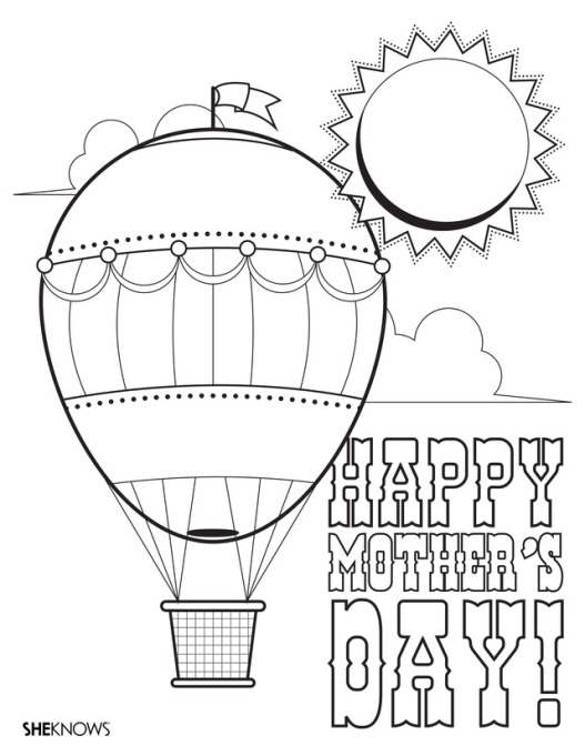 Hot air balloon printable coloring page