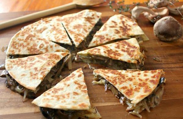 Brie and mushroom quesadilla recipe