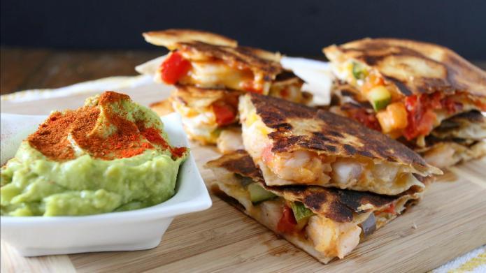 Spicy shrimp quesadillas with chipotle-avocado sauce