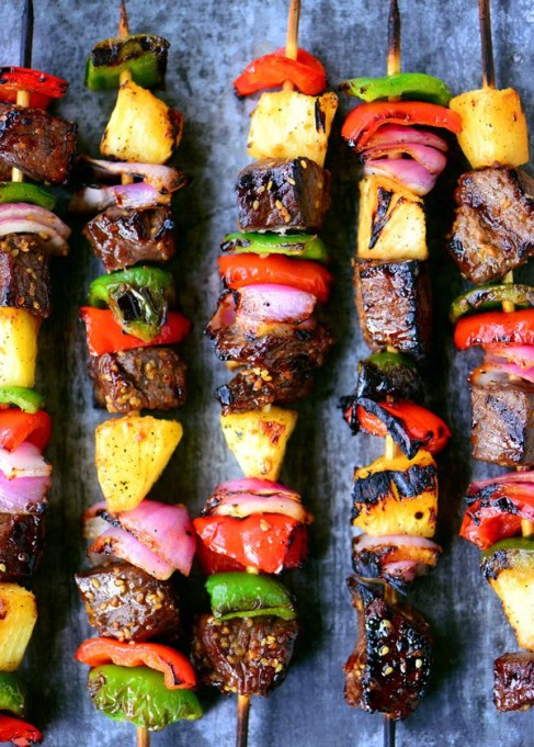 Hawaiian steak kabobs