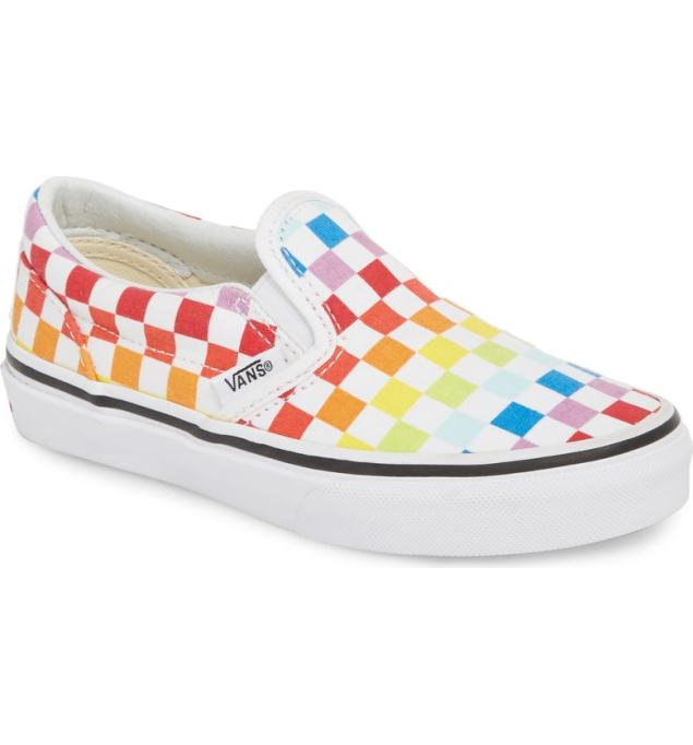 Vans classic checker slip-on in rainbow