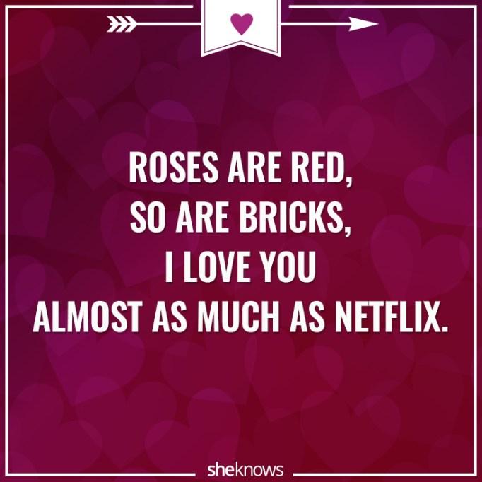 Funny Valentine's Day poem about Netflix