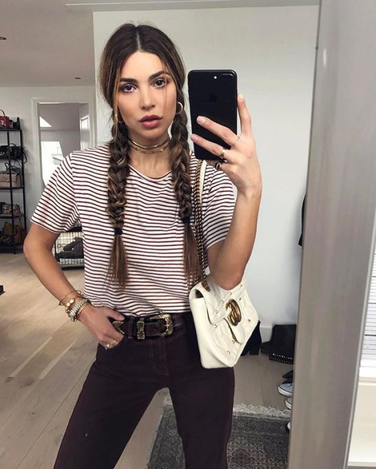 Model-Approved Hairstyle Ideas to Copy This Summer: Negin Mirsalehi's pigtail braids   Summer Hair