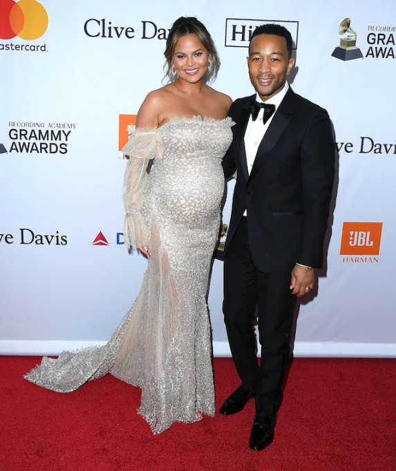 Chrissy Teigen and John Legend at Clive Davis' Pre-Grammys party