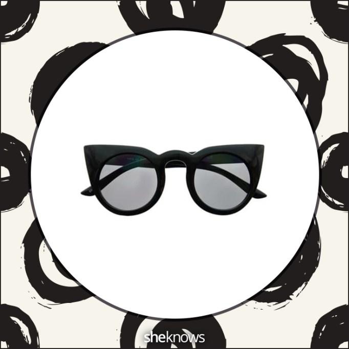 Glamorous large tip-pointed retro fashion round cat eye sunglasses
