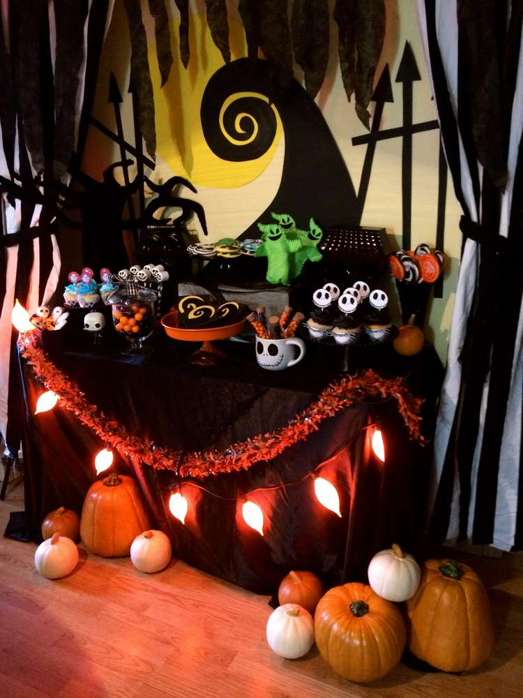 Haunting Decorations For The Tim Burton Themed Halloween Party Of