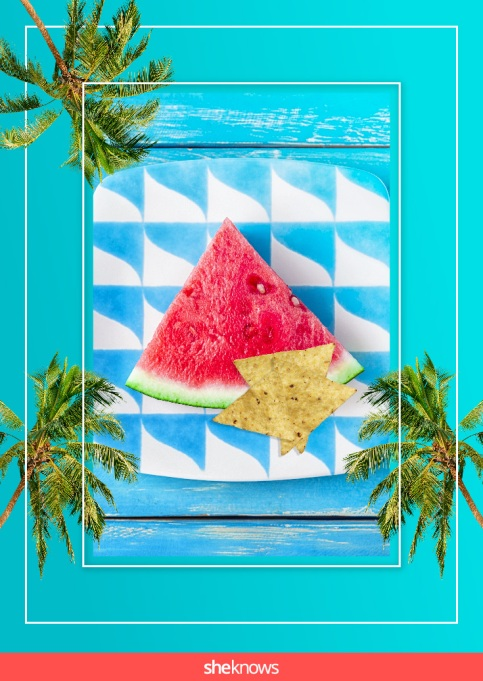 Lime-flavored tortilla chips and watermelon
