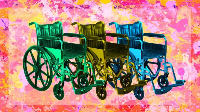 Three wheel chairs on a colorful