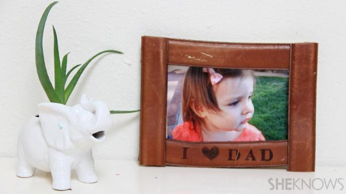 DIY leather belt picture frame for