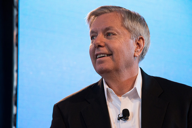 Lindsey Graham during the inaugural Ag Summit in Des Moines, Iowa, in 2015