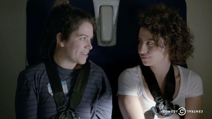 Abbi Jacobson and Ilana Glazer on a plane in Broad City