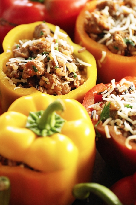 Rice and sausage-stuffed peppers