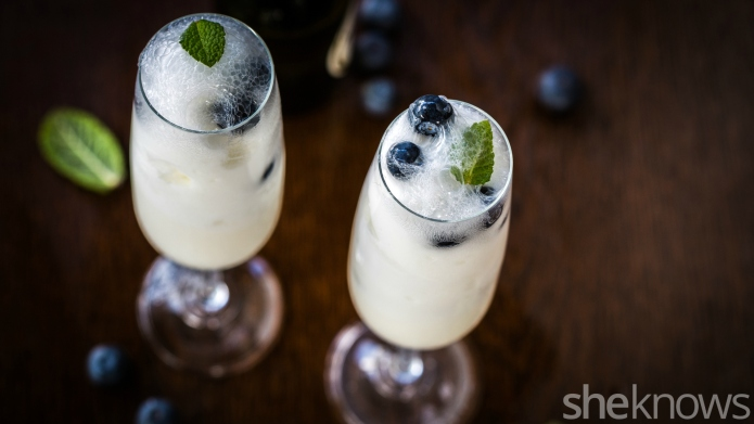 Lemon sorbet in prosecco makes a
