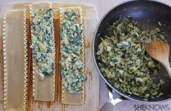 Spinach-and-artichoke lasagna bundles