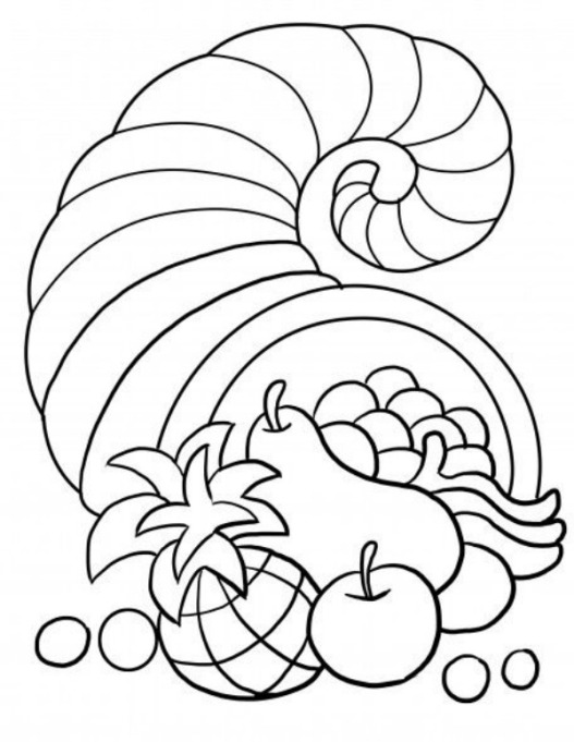 Free Thanksgiving-Themed Coloring Pages for Kids: Cornucopia