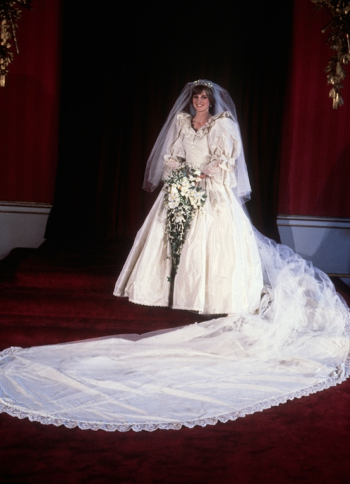Diana, Princess of Wales, in her bridal dress on the day of her wedding to Prince Charles