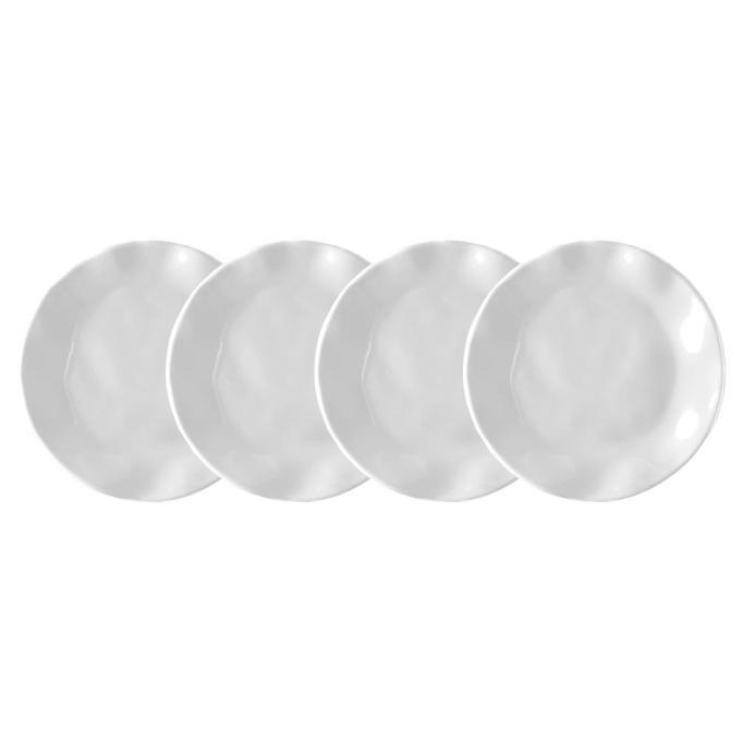 Ruffle 4-Piece White Melamine Appetizer Plate Set