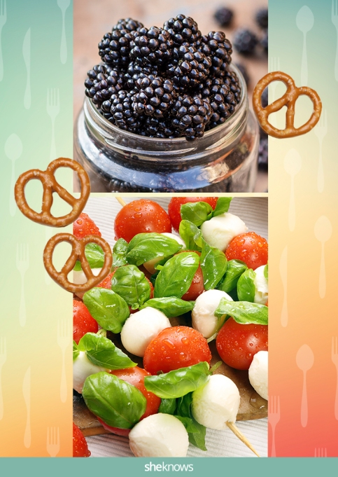 Caprese skewers with pretzels and a side of blackberries