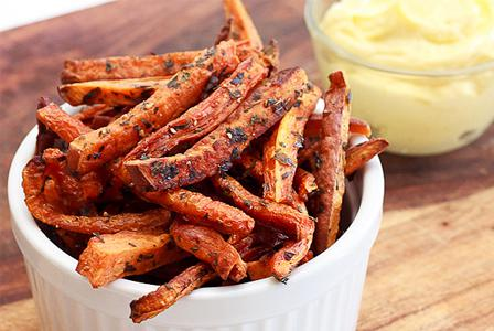 Baked sweet potato and carrot fries