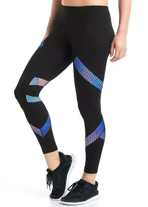Chic Workout Clothes Under $50: Gap GapFit Blackout gFast Pattern Block Leggings | Fitness Gear 2017