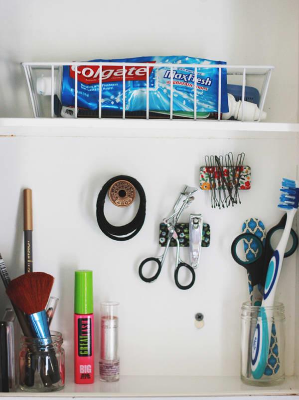 Magnetic strips medicine cabinet