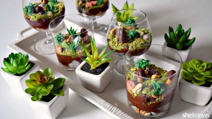 Too-cute terrarium pudding cups you won't