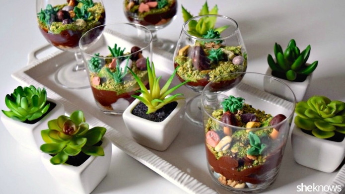 Too-cute terrarium pudding cups you won't