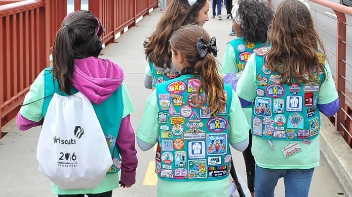Yes, a few Girl Scouts marched