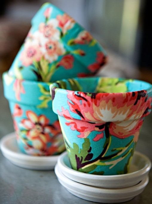 DIY fabric terracotta pots from Shelterness