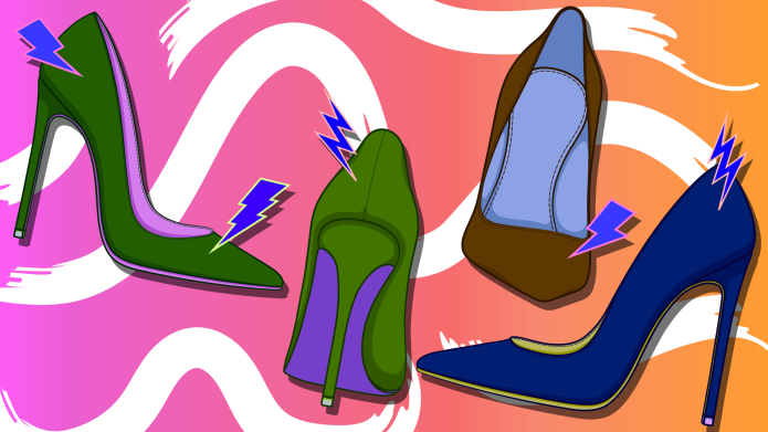 Colors of high-heeled shoes with lightning