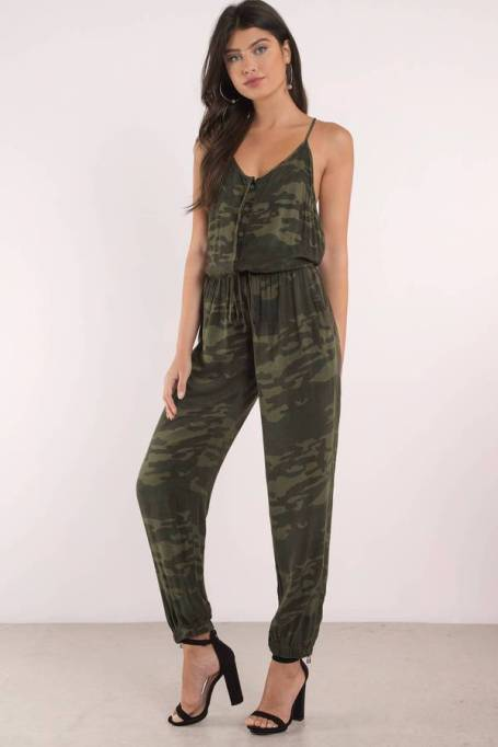 Jumpsuits You Need in Your Closet | Tobi See Me Now Camo Print Jumpsuit