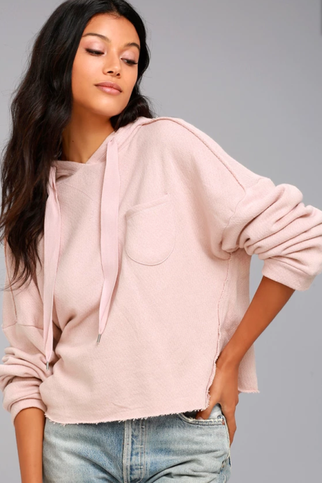 Cozy Sweaters For Under $100: Other's Follow Work It Blush Pink Cropped Hoodie | Fall Fashion 2017